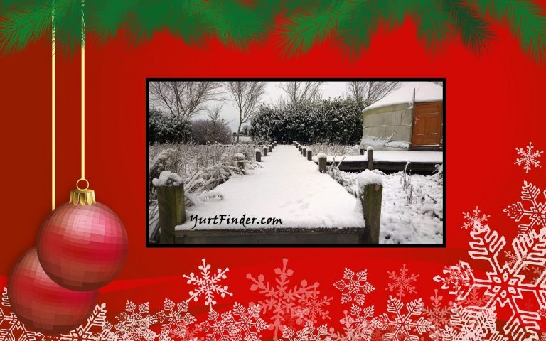 Christmas Scene with a Yurt and Snow. Yurts For sale.