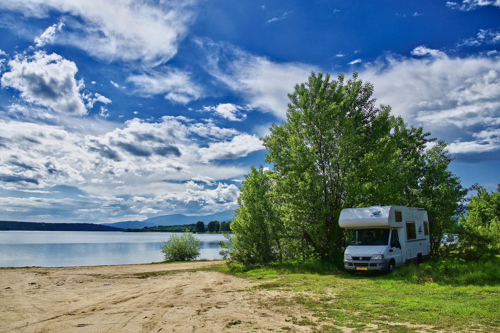 Motorhome by a lake